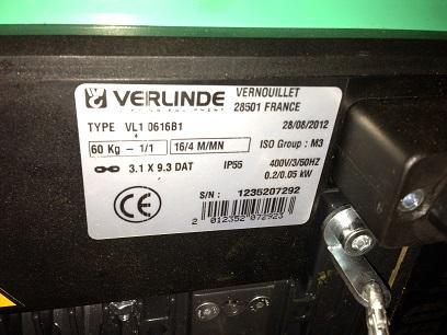 Chariot-palan-VERLINDE-chaine-60-Kg